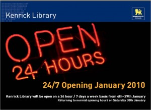 24hrs opening 2010 Kenrick Library Poster
