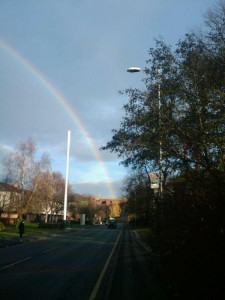 Rainbow over John Ryland University Library, image courtesy of @bethanar