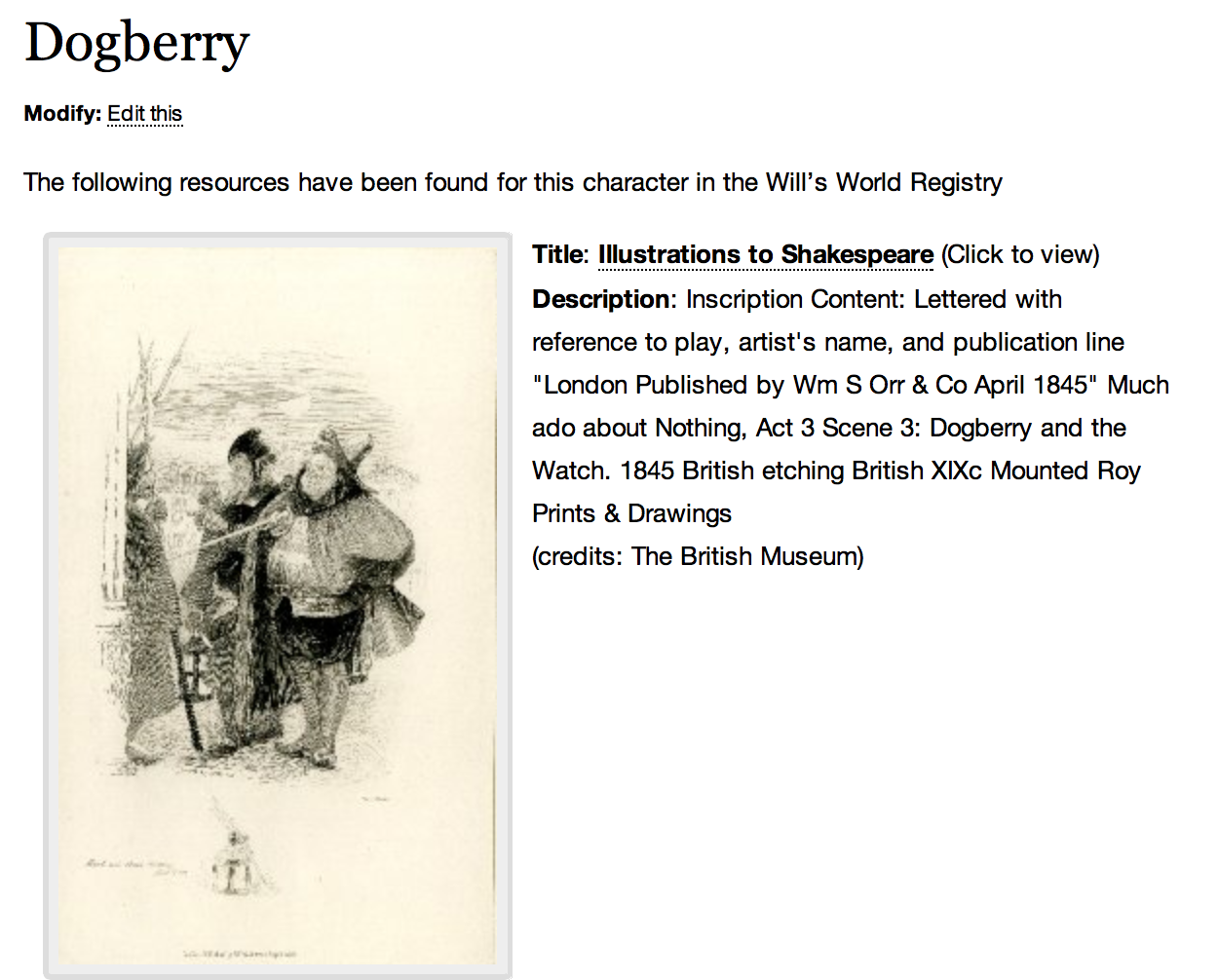 Dogberry page created by ShakespearePress WP plugin