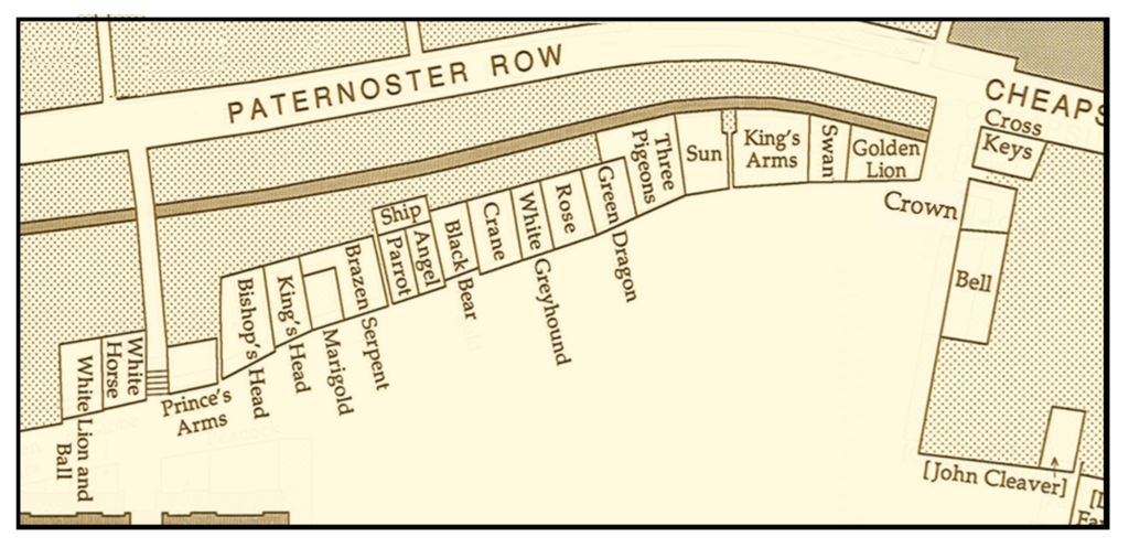 Map of Bookshops of Pauls Cross in 1640