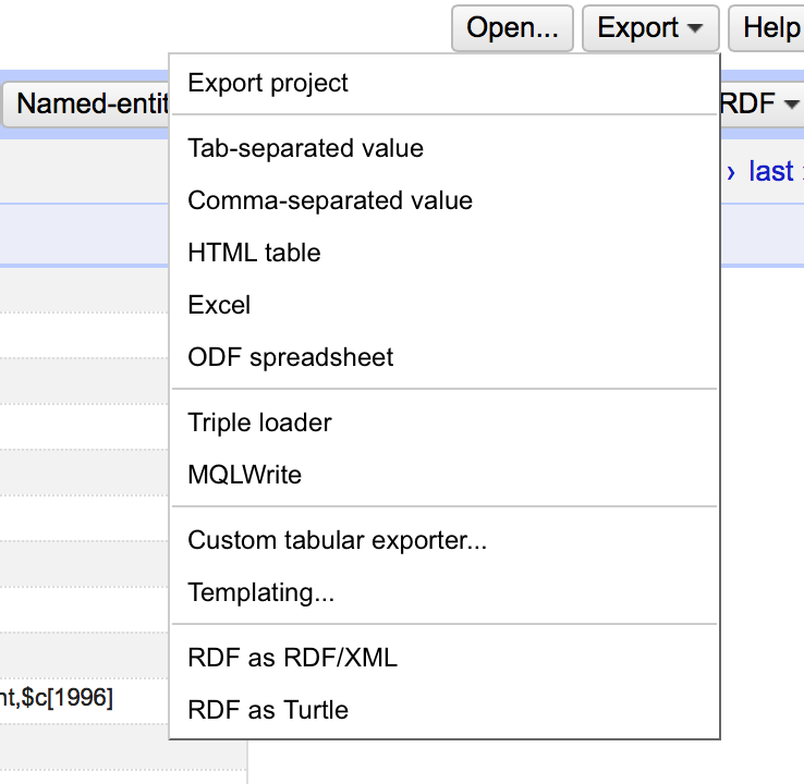 OpenRefine Export Options