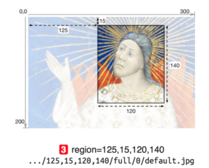 Graphic from IIIF documentation explaining the 'region' parameter in an Image Request